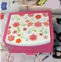 大号带镜子手工描绘木制樱花收纳盒