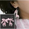 韩国X粉色可爱的圆点布扣长颈鹿耳坠