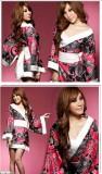 红花纹改良版印花和服三件套(不透明)