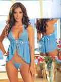 M-L SIZE蓝色挑逗腰带性感睡衣