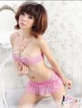 性感粉色蕾丝软纱性感睡衣三件套