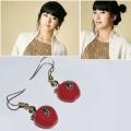 大红苹果耳环