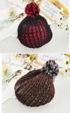 韩版双色毛线帽