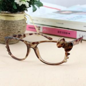 韩版豹纹蝴蝶结Kitty猫无镜片眼镜框