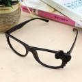韩版全黑磨砂蝴蝶结Kitty猫无镜片眼镜框