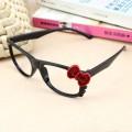 韩版黑亮红拼色蝴蝶结Kitty猫无镜片眼镜框