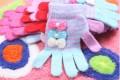 三朵蝴蝶结分指保暖手套