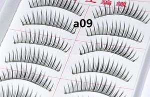 台湾超自然纯手工透明梗假睫毛10对(A09)
