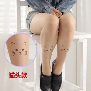 哈日超人气猫头假纹身刺青超薄透明连裤袜