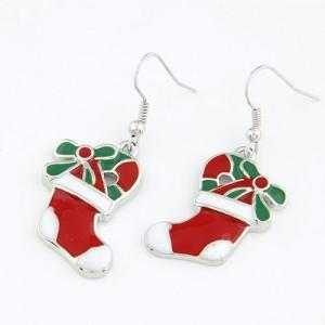 圣诞靴耳环